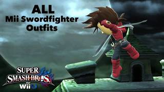 Super Smash Bros. for Wii U - ALL Mii Swordfighter Outfits (Includes DLC) UPDATED