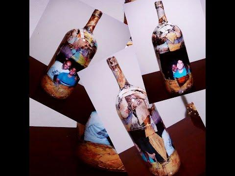 Decoupage em garrafa com revista rasgada e foto Passo a passo
