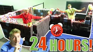 24 HOUR FORT OVERNIGHT CHALLENGE IN TRAMPOLINE PARK!