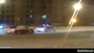 evo drifting circles around helpeless cop
