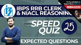 Reasoning Speed Quiz 25 Live | IBPS RRB Clerk & NIACL Questions | Solve with Shyam Sir