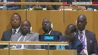 Zimbabwe President Robert Mugabe & Staff Fall Asleep During Trump's UN Speech