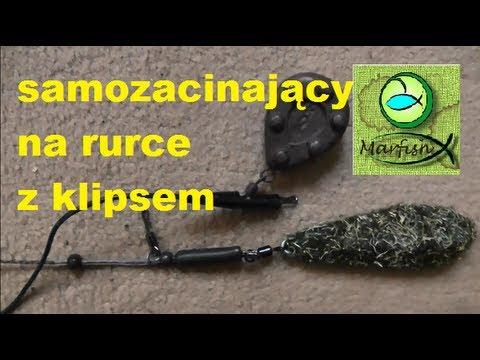 Zestaw samozacinający na rurce antysplątaniowej z bezpiecznym klipsem wędkarstwo karpiowe