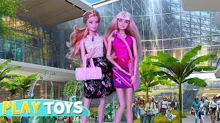 Barbie Doll Shopping Mall Adventure for Dresses, Shoes! Barbie Girl drive pink car toy pretend play