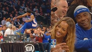 Joel Embiid Almost Injures Fans After Diving Into The Crowd! Sixers vs Knicks