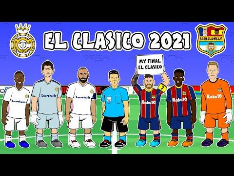 🔥Real Madrid vs Barcelona the cartoon 🔥 2 1 El Clasico Goals Highlights Kroos Benzema Mingueza