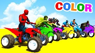 LEARN COLORS ATV and MotorBike w Superheroes for Toddlers - 3D Cars For Kids