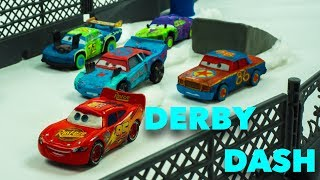 Derby Dash McQueen gets Revved Up for the next Race with a group of Derby Racers | CARS