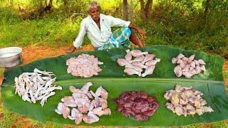 ALL CHICKEN PARTS !!! Mixed Chicken Parts gravy prepared by uncle | food fun village