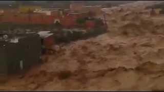 أكبر فيضان بالمغرب يلتهم منزل في ثواني لا حول ولا قوة الا بالله