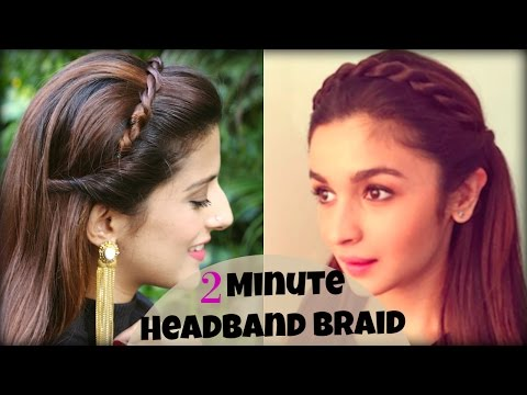 CUTE & EASY 2 Min Everyday Headband Braid For School, College, Work | Alia Bhatt | Indian Hairstyles