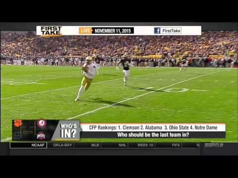 Espn First Take 11 11 2015 Alabama Notre Dame move up while Clemson Ohio State hold steady