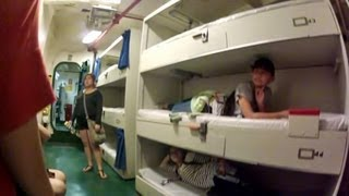 Hmong Girls Touring Sleeping Quarters of The USS Midway Navy Carrier