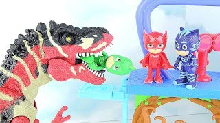 Dinosaurs Attack PJ Masks! New Headquarter Playset.  Jurassic World Dinosaur toys~ Fun video.