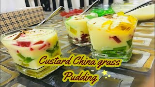 Custard China grass pudding Recipe || How to make Custard China grass pudding