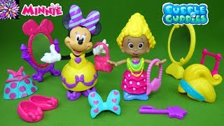 Bubble Guppies Molly and Minnie Mouse Snap and Dress Fashion Show Dress Up Dolls Princess Toys Video