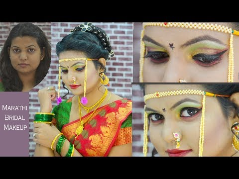 Marathi bridal Makeup : Green & Red Eye Tutorial in HINDI :Indian Maharashtrian Bajirao inspired