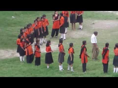 Indian School Girls Circle Teacher-with-a-Stick