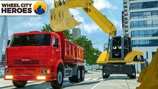 Excavator and Dump Truck Bulding Garage. Wheel City Heroes (WCH) New Cartoon Series for Kids