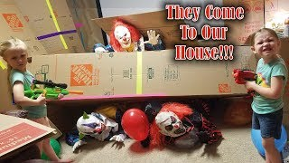 Calling the Creepy Clowns!!! *OMG* They Come to My House and We Chase Them in Our Box Fort!