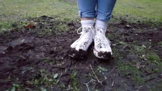 Celina: Muddy socks in white Converse (part 4 of muddy socks and shoes series)