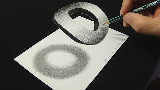 😯Floating Letter O - Drawing letter O with Pencil & Marker - 3D Trick Art - VamosART