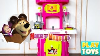 Kitchen Toys cutting velcro fruit & vegetables  - Masha and the Bear playing cupcakes of Play-doh