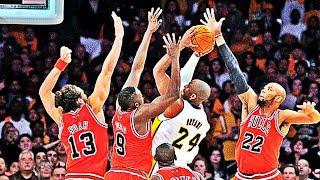 Kobe Bryant Shooting Over Multiple Defenders