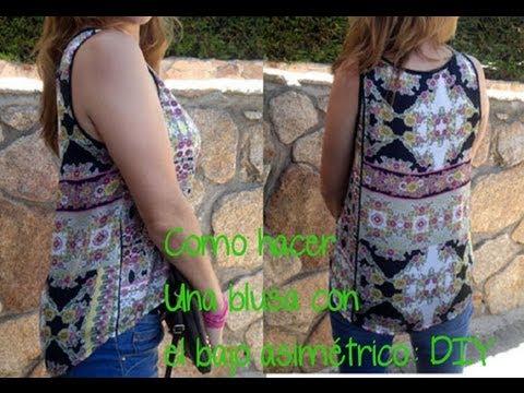 Como hacer una blusa con bajo asimétrico Patrón gratis Diy con patronesmujer .