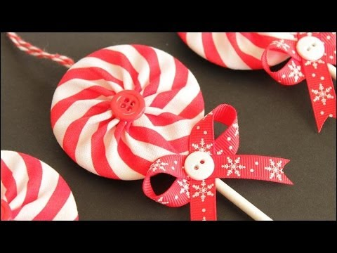 Fabric Yo Yo Lollipop Christmas Ornaments
