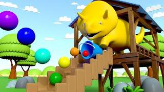 Dino joga bolas saltitantes e aprende as cores! - Aprenda com Dino o Dinossauro l Aprender português