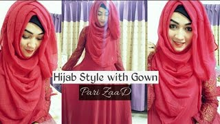 Hijab Style with Gown Covering chest | Pari ZaaD