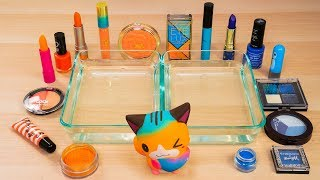 Mixing Makeup Eyeshadow Into Slime! Orange vs Blue #1 Satisfying Slime Video
