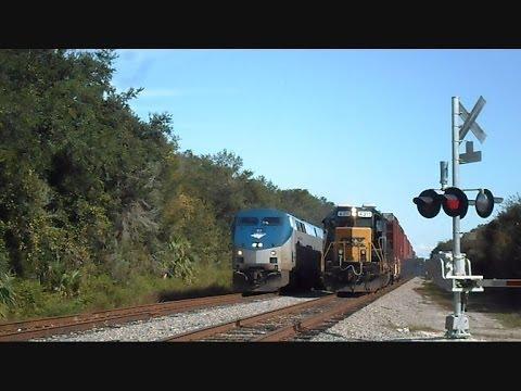 Amtrak Train Silver Star Passes CSX Train Making Pick Ups