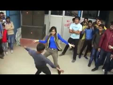 Hot dance for girl and small boy