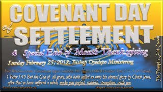 Covenant Day of Settlement & Thanksgiving Service,  February 25, 2018