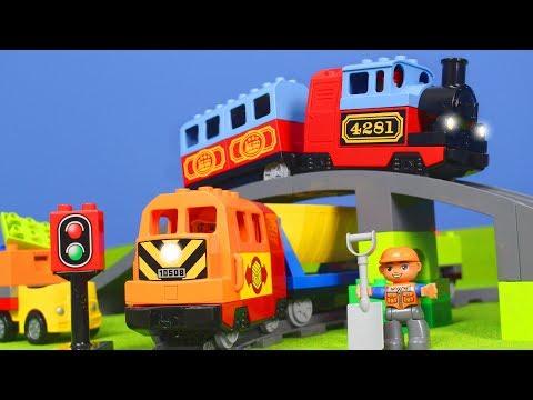LEGO DUPLO ZUG Kinderfilm: ZÜGE, BAGGER, LASTWAGEN & KRAN für KINDER   Neue ZUG Episode deutsch
