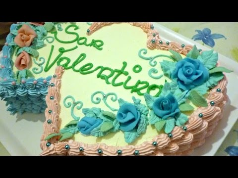 Valentine s day cake decorated with whipped cream by ItalianCakes