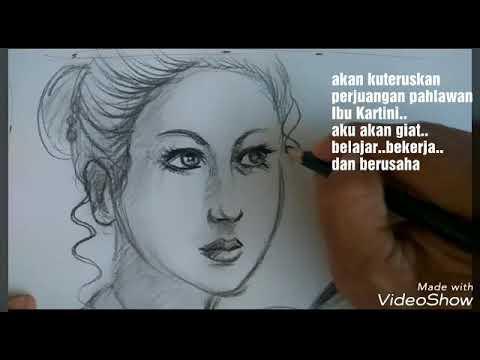 Wow,menggambar wajah ibu Kartini jaman now | no timelaps