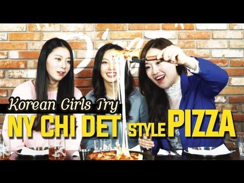 Korean girls try New York, Chicago, Detroit Style Pizzas [Digitalsoju TV]