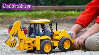 Bruder Construction Trucks for Kids: Unboxing JCB Backhoe - Kid Playing with Toys