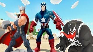 Süper Kahramanlar Kaptan Amerika Thor ve Venom Birbirinden Güzel Oyun Alanlarında (Çizgi Film Gibi)