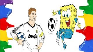SpongeBob And Real Madrid Player Sergio Ramos - Coloring Pages Funny Video For Children