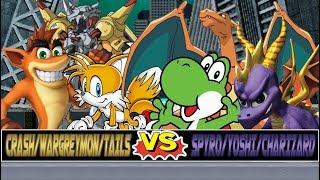 M.U.G.E.N. Battles | Crash Bandicoot/Tails/WarGreymon vs Spyro/Yoshi/Charizard