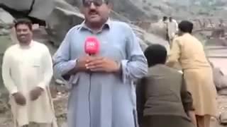 Pakistan ever best news  reporter with cameraman  Watch till End Video 2016