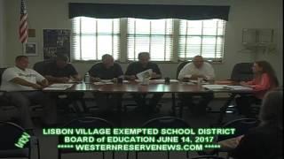 Lisbon Columbiana County Ohio Schools June Board of Education Meeting