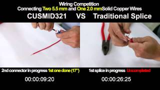CUSMI D321 VS Traditional Splice(Wire Adaptor – Connecting Two 5.5 mm2 & One 2.0 mm Copper Wires)