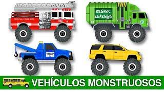 Aprendan con Vehículos Monstruosos Para Niños - Aprendan Camiones Monstruos, Carros, Vehículos y Más