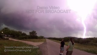 Chasers almost struck by lightning chasing Junction, TX Tornado - 5/28/2016