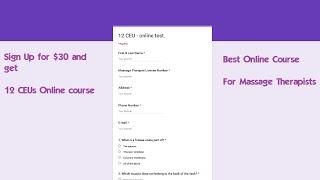 12 CEUs Massage CE Course Online for $30